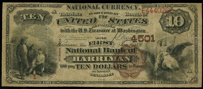 First National Bank of Harriman National Currency dollar bill