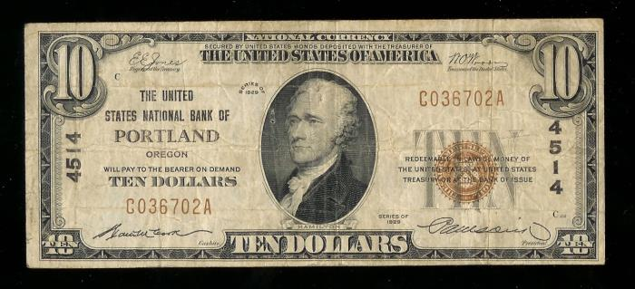 United States National Bank of Portland (4514) Ten Dollar Bill Series 1929