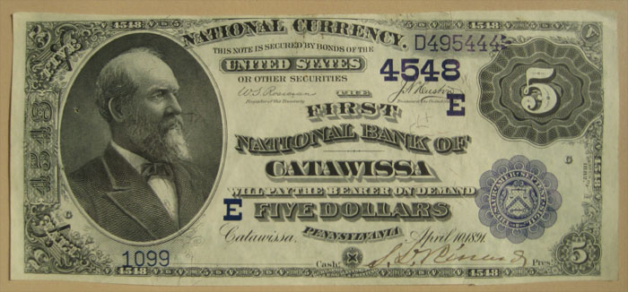 First National Bank of Catawissa National Currency dollar bill