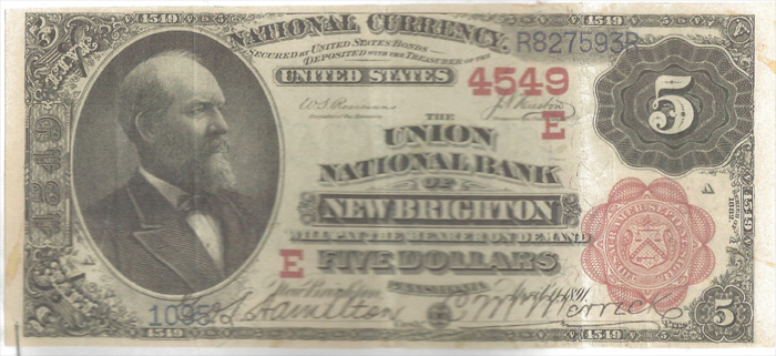 Union National Bank of New Brighton National Currency dollar bill