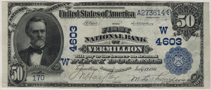 First National Bank of Vermillion National Currency dollar bill