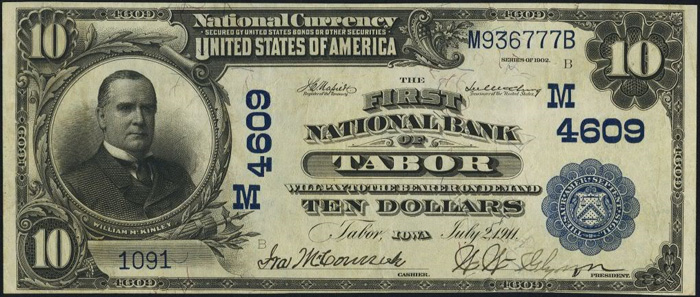 First National Bank of Tabor National Currency dollar bill