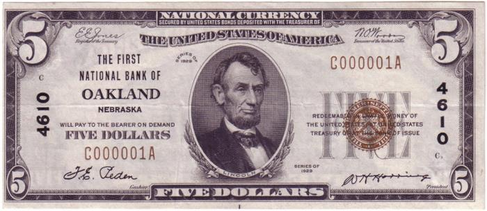 First National Bank of Oakland National Currency dollar bill