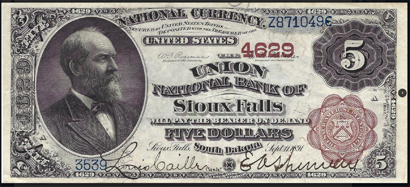 Union National Bank of Sioux Falls National Currency dollar bill