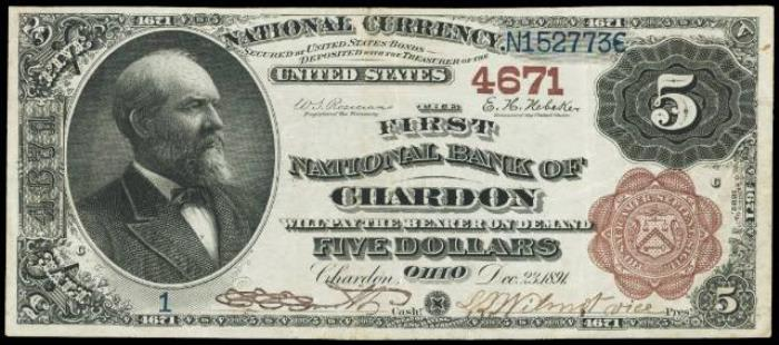 First National Bank of Chardon National Currency dollar bill
