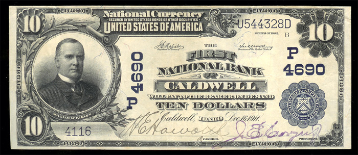 First National Bank of Caldwell National Currency dollar bill