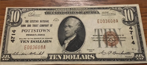 Citizens National Bank of Pottstown National Currency dollar bill