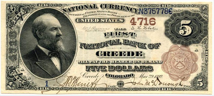 First National Bank of Creede National Currency dollar bill