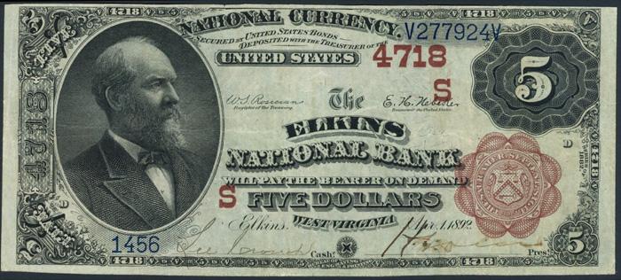 Elkins National Bank, Elkins (4718) Five Dollar Bill Series 1882 Brownback