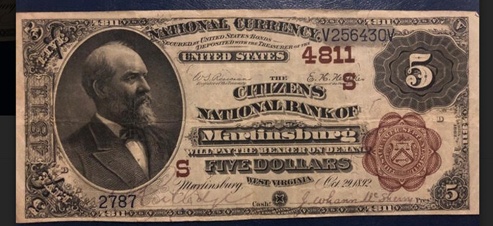 Citizens National Bank of Martinsburg National Currency dollar bill