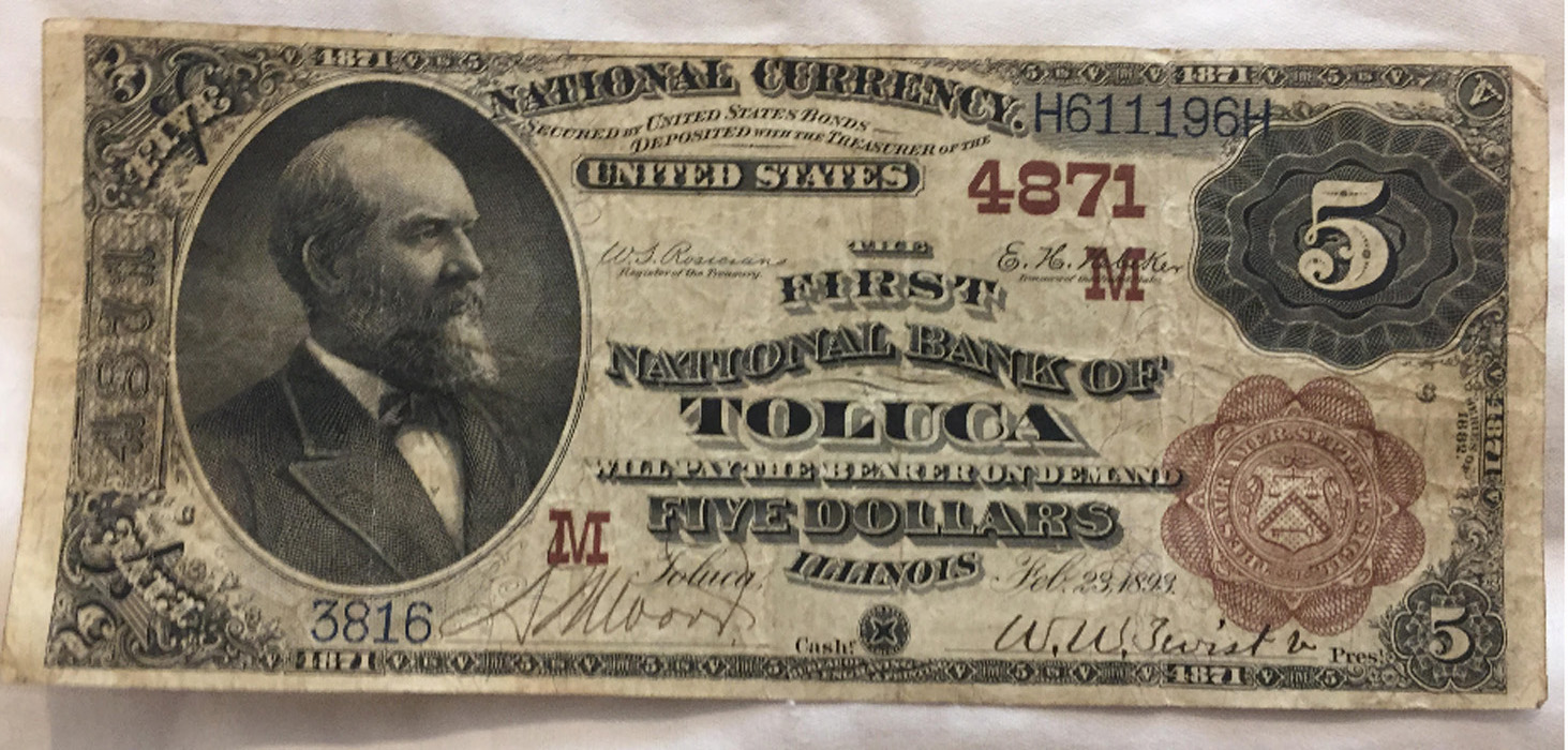 First National Bank of Toluca National Currency dollar bill