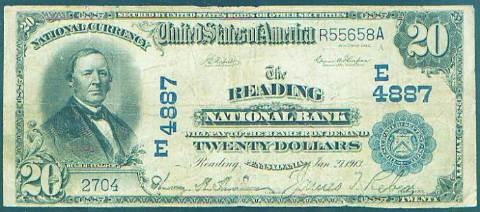 Reading National Bank, Reading (4887) Twenty Dollar Bill Series 1902 Blue Seal
