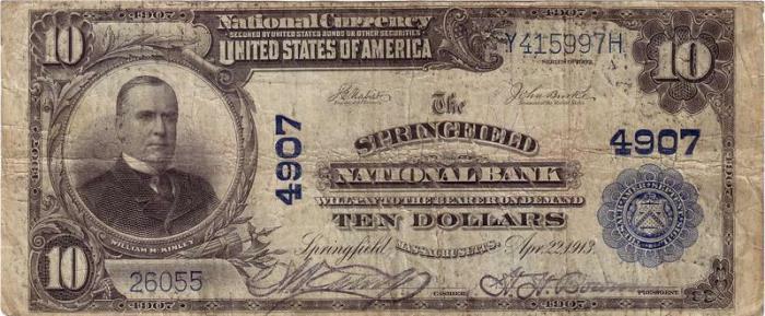 Springfield National Bank, Springfield (4907) Ten Dollar Bill Series 1902 Blue Seal
