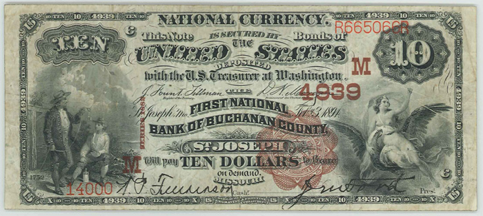 First National Bank of Buchanan County of Saint Joseph National Currency Bank Note Dollar Bill