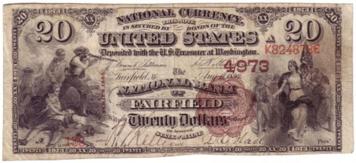 National Bank of Fairfield National Currency dollar bill