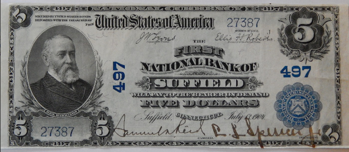 First National Bank of Suffield (497) Five Dollar Bill Series 1902 Blue Seal