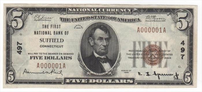 First National Bank of Suffield (497) Five Dollar Bill Series 1929