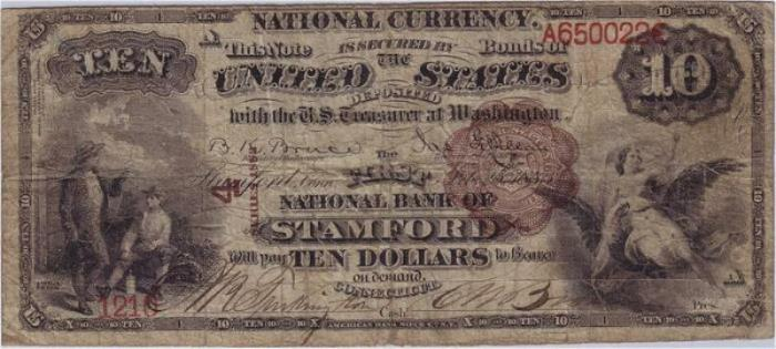 First National Bank of Stamford (4) Ten Dollar Bill Series 1882 Brownback