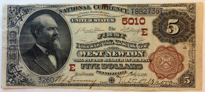 First National Bank of West Newton National Currency dollar bill