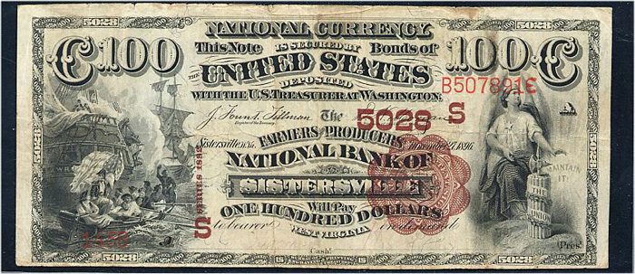Farmers and Producers National Bank of Sistersville National Currency dollar bill