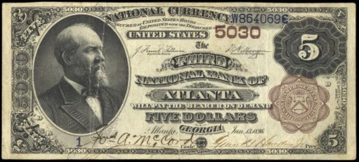 Third National Bank of Atlanta National Currency dollar bill