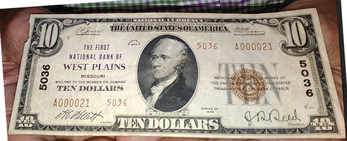 First National Bank of West Plains National Currency dollar bill