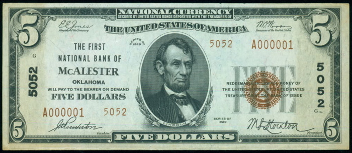 First National Bank of South McAlester National Currency dollar bill