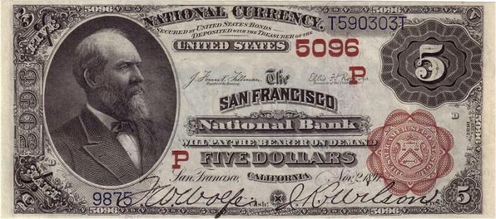 San Francisco National Bank, San Francisco National Currency dollar bill