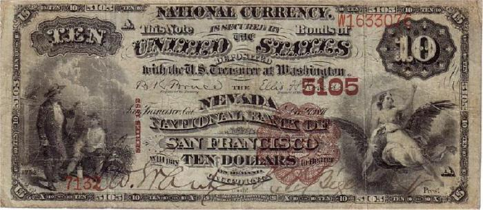 Nevada National Bank of San Francisco National Currency dollar bill