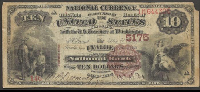 Uvalde National Bank, Uvalde National Currency dollar bill