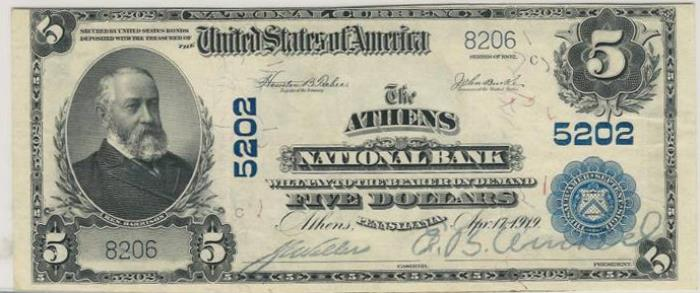 Athens National Bank, Athens National Currency dollar bill