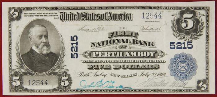 First National Bank of Perth Amboy (5215) Five Dollar Bill Series 1902 Blue Seal