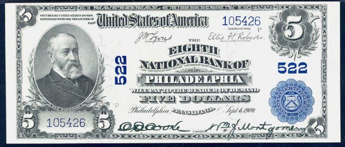 Eighth National Bank of Philadelphia (522) Five Dollar Bill Series 1902 Blue Seal