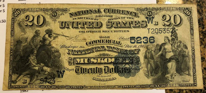 Commercial National Bank of Muskogee National Currency dollar bill