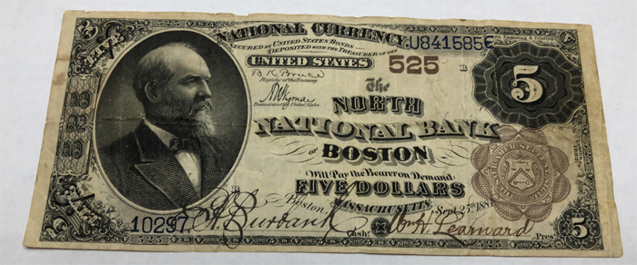 North National Bank of Boston National Currency dollar bill