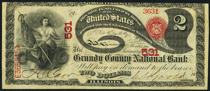 Grundy County National Bank of Morris National Currency dollar bill