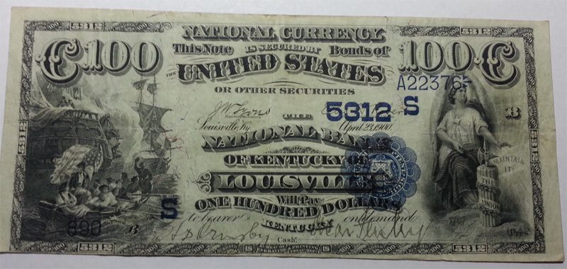 National Bank of Kentucky of Louisville National Currency dollar bill