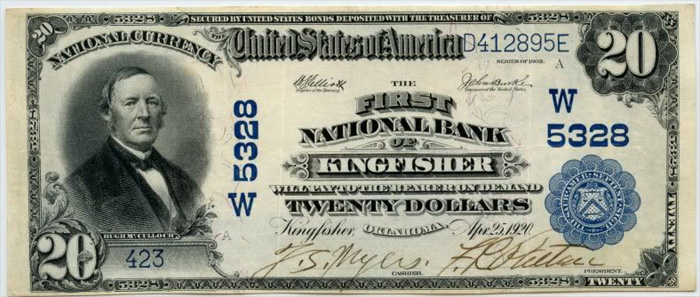 First National Bank of Kingfisher National Currency dollar bill