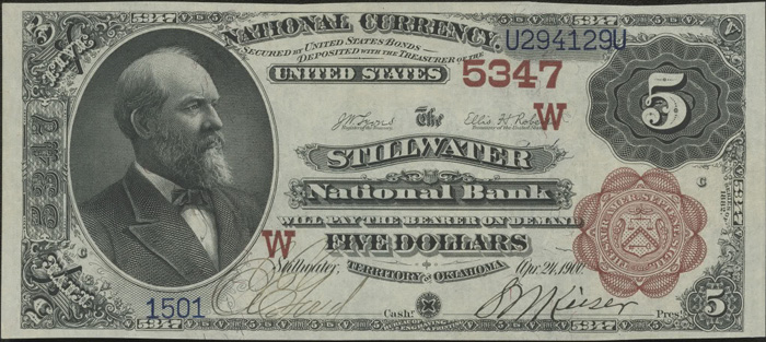 Stillwater National Bank, Stillwater (5347) Five Dollar Bill Series 1882 Brownback