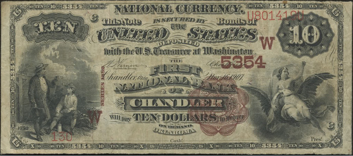 First National Bank of Chandler National Currency dollar bill