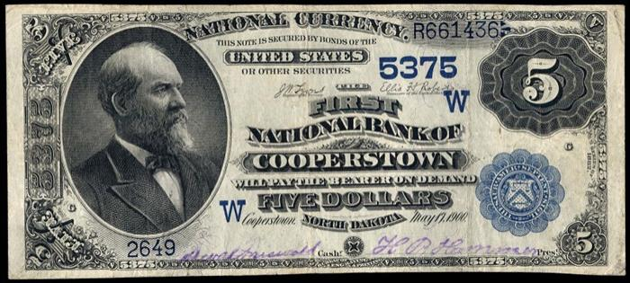 First National Bank of Cooperstown (5375) Five Dollar Bill Series 1882 Dateback and Valueback