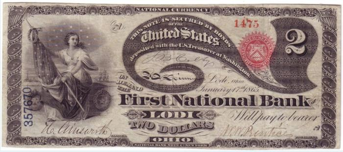 First National Bank of Lodi (53) Two Dollar Bill Original Series