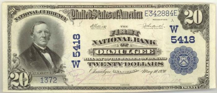 First National Bank of Okmulgee National Currency dollar bill