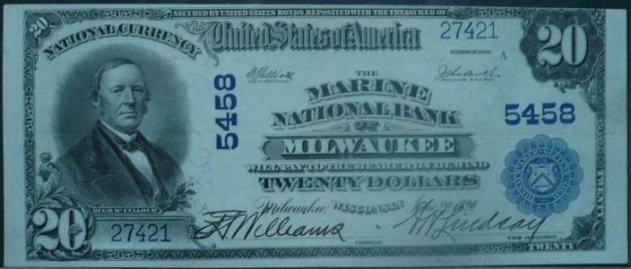 Marine National Bank of Milwaukee (5458) Twenty Dollar Bill Series 1902 Blue Seal