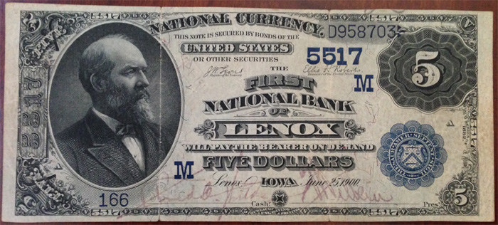 First National Bank of Lenox (5517) Five Dollar Bill Series 1882 Dateback and Valueback