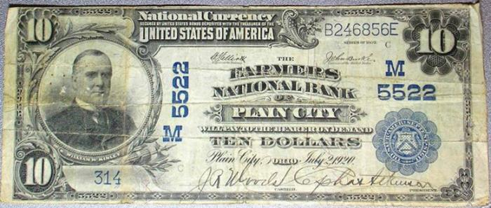 Farmers National Bank of Plain City National Currency dollar bill