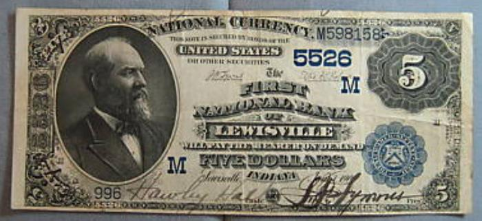 First National Bank of Lewisville (5526) Five Dollar Bill Series 1882 Dateback and Valueback