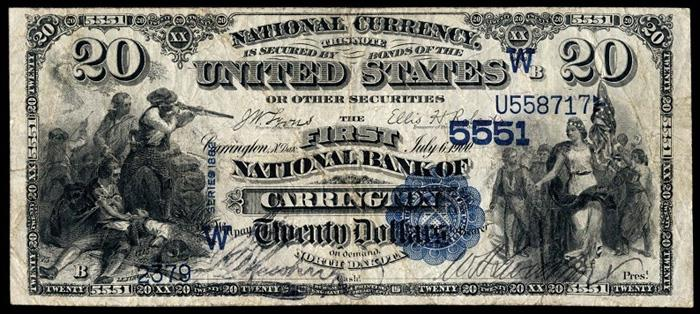 First National Bank, Carrington National Currency dollar bill