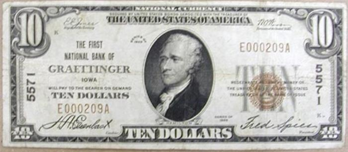 First National Bank, Graettinger National Currency dollar bill