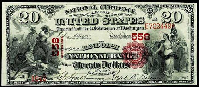 Randolph National Bank, Randolph National Currency dollar bill
